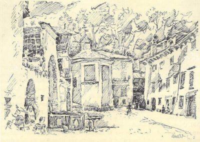 Disegno storico della piazza Parravicini a Tirano